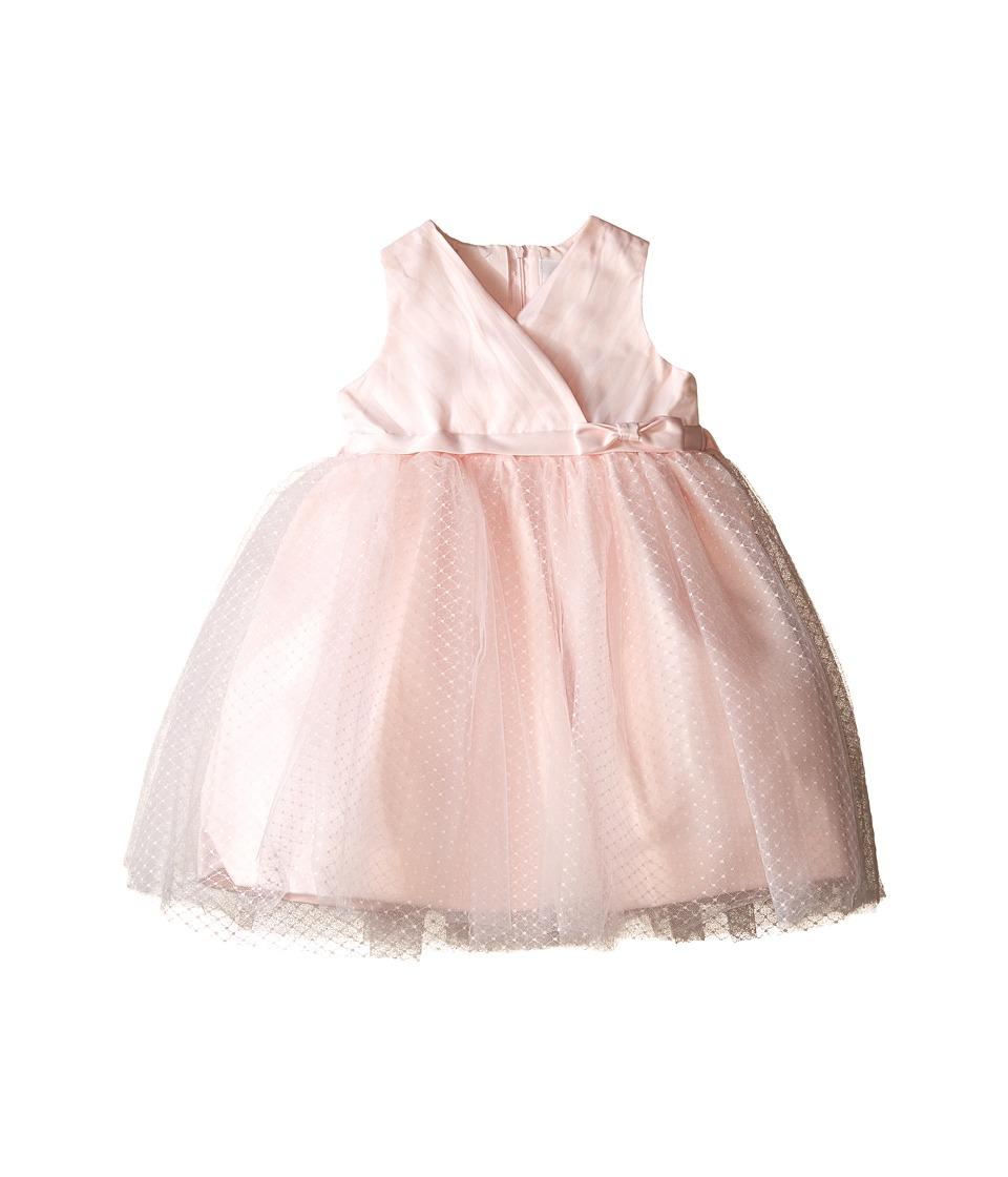 Us Angels - Satin Point d' Espirit Sleeveless Pleated Bodice Full Skirt (Infant) (Blush) Girl's Dress
