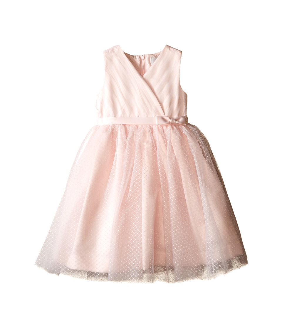 Us Angels - Satin Point d' Espirit Sleeveless Pleated Bodice Full Skirt (Toddler) (Blush) Girl's Dress