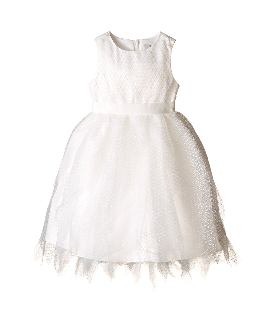 Us Angels - Dot Netting Sleeveless Dress w/ Tiered Hanky Hem Skirt (Toddler) (Ivory) Girl's Dress