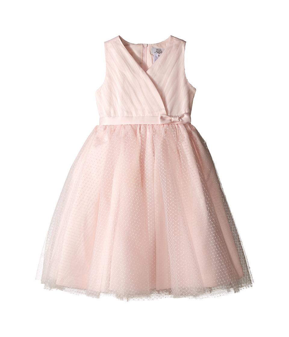 Us Angels - Satin Point d' Espirit Sleeveless Pleated Bodice Full Skirt (Little Kids) (Blush) Girl's Dress