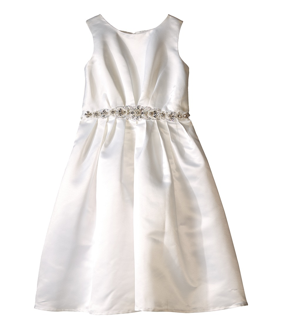 Us Angels - Sleeveless Satin Dress w/ Beaded Pleated Waist Full Skirt (Little Kids) (Ivory) Girl's Dress