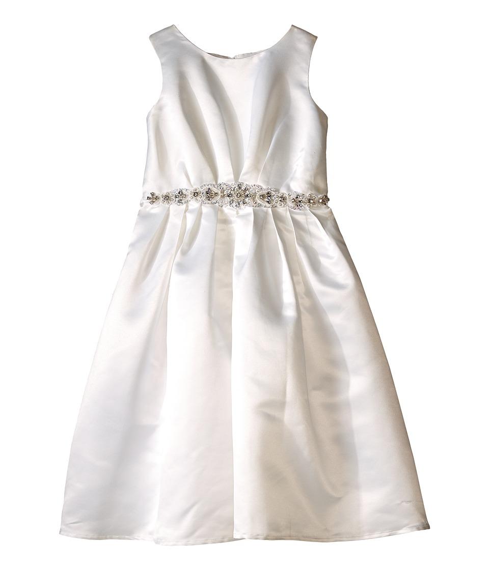 Us Angels - Sleeveless Satin Dress w/ Beaded Pleated Waist Full Skirt (Little Kids) (Ivory) Girl's Dress