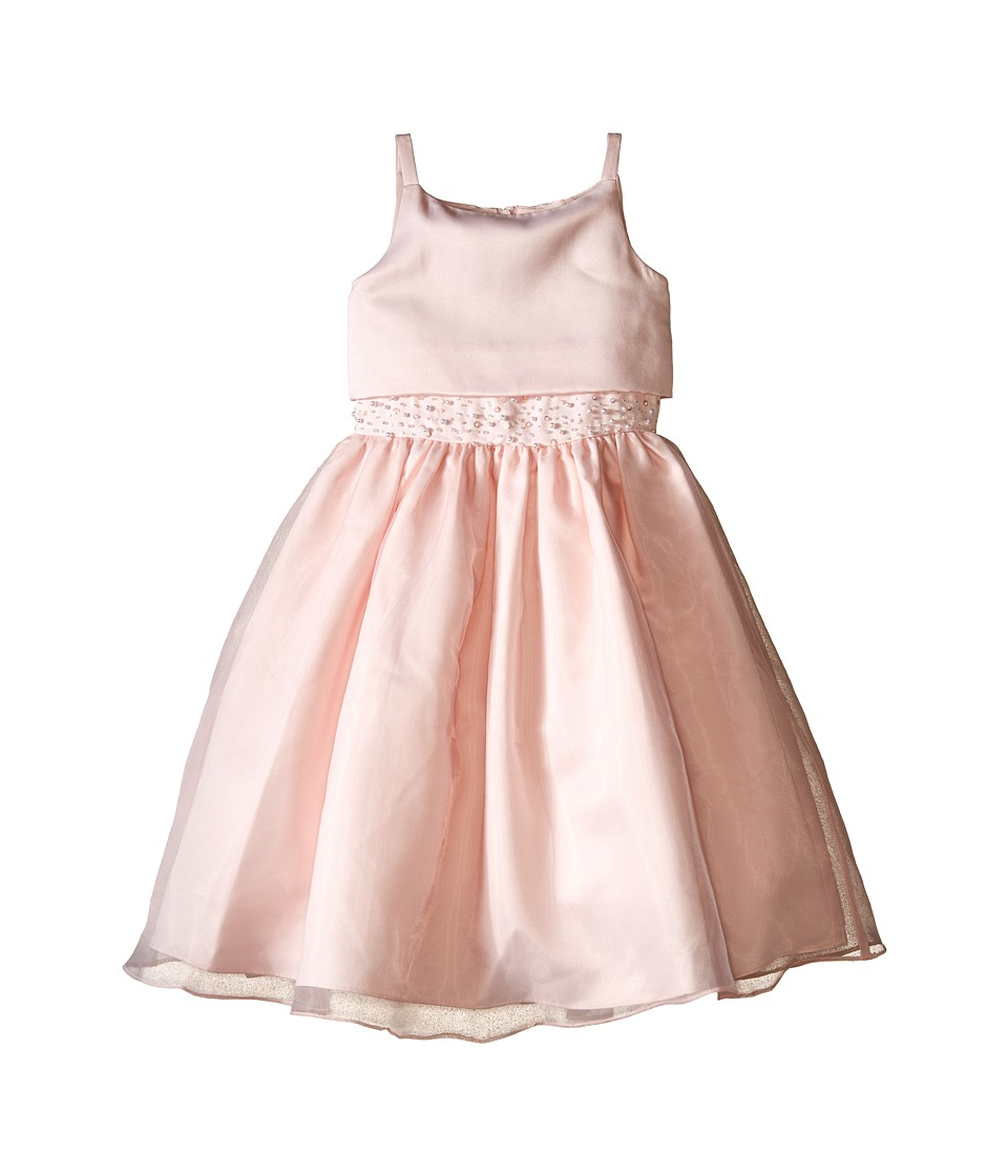 Us Angels - Sleeveless Satin Popver Bodice w/ Beaded Wasit Full Skirt (Little Kids) (Blush) Girl's Dress