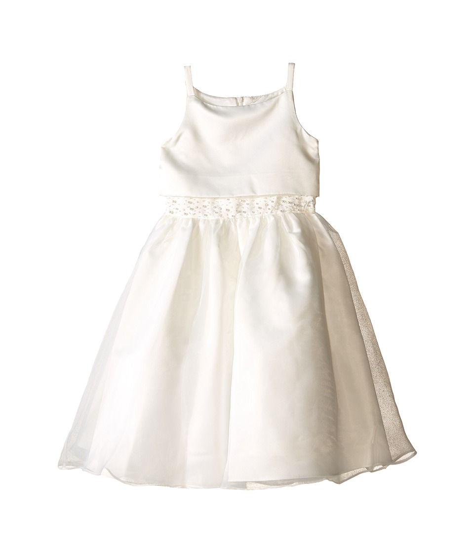 Us Angels - Sleeveless Satin Popver Bodice w/ Beaded Wasit Full Skirt (Little Kids) (Ivory) Girl's Dress