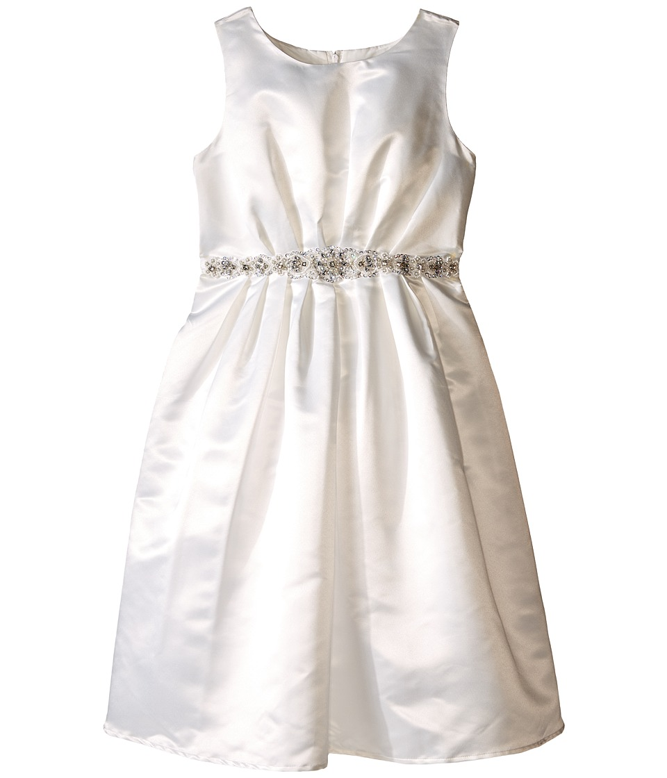 Us Angels - Sleeveless Satin Dress w/ Beaded Pleated Waist Full Skirt (Big Kids) (Ivory) Girl's Dress