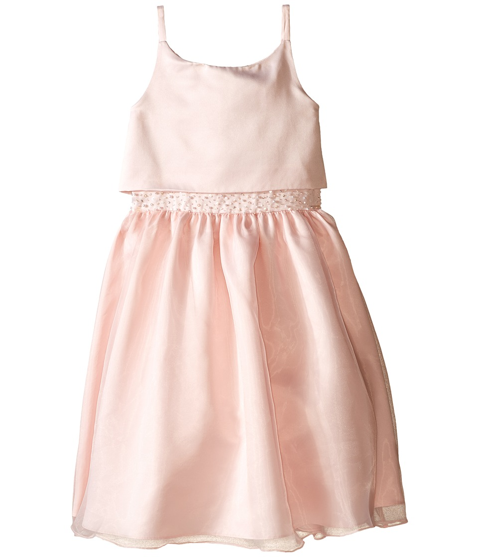 Us Angels - Sleeveless Satin Popver Bodice w/ Beaded Wasit Full Skirt (Big Kids) (Blush) Girl's Dress