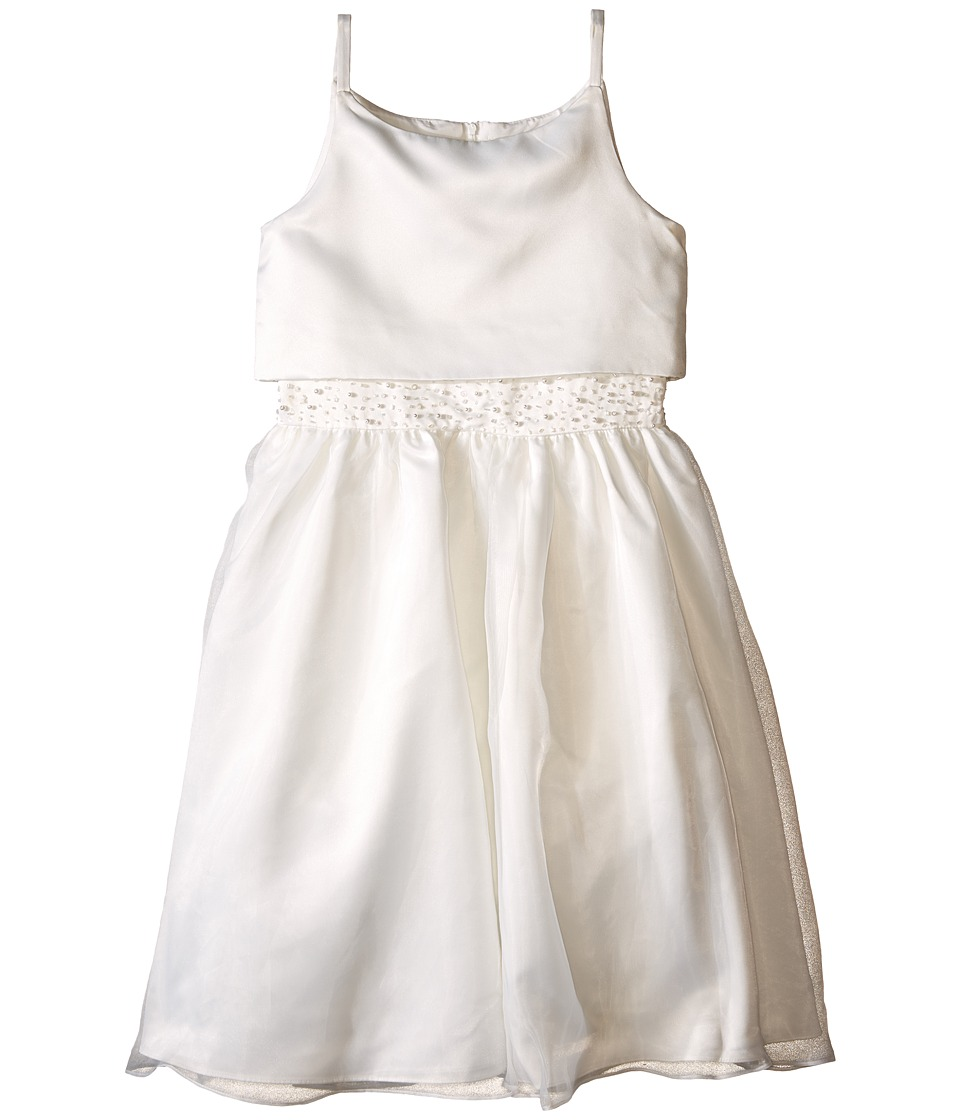 Us Angels - Sleeveless Satin Popver Bodice w/ Beaded Wasit Full Skirt (Big Kids) (Ivory) Girl's Dress