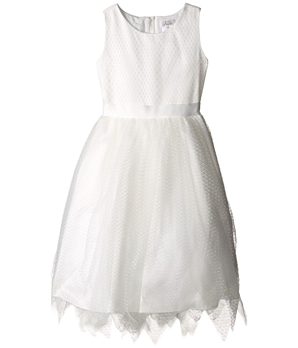 Us Angels - Dot Netting Sleeveless Dress w/ Tiered Hanky Hem Skirt (Big Kids) (Ivory) Girl's Dress