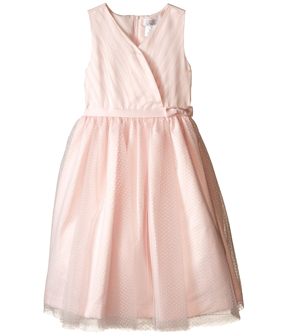 Us Angels - Satin Point d' Espirit Sleeveless Pleated Bodice Full Skirt (Big Kids) (Blush) Girl's Dress