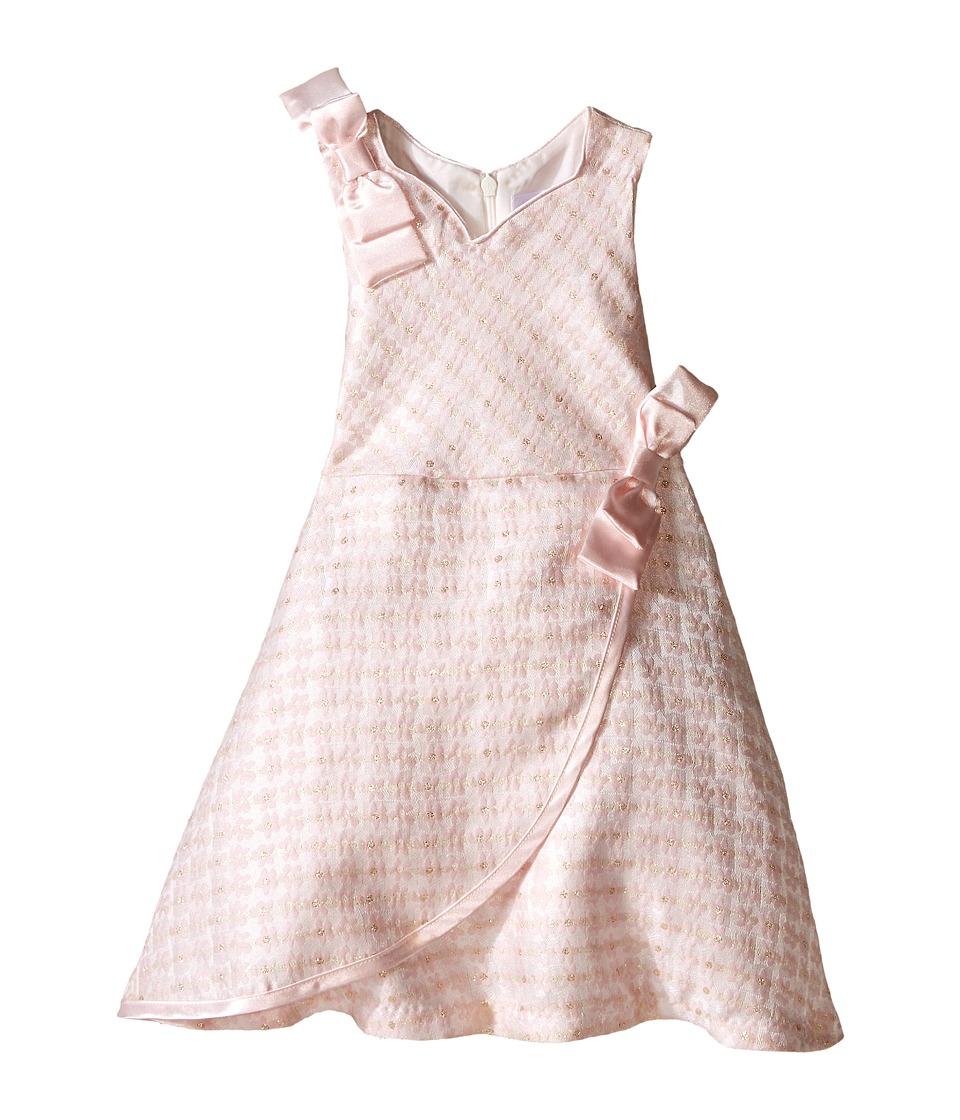 Us Angels - Brocade Sleeveless Dress w/ Satin Ribbon Trim (Infant) (Pink) Girl's Dress