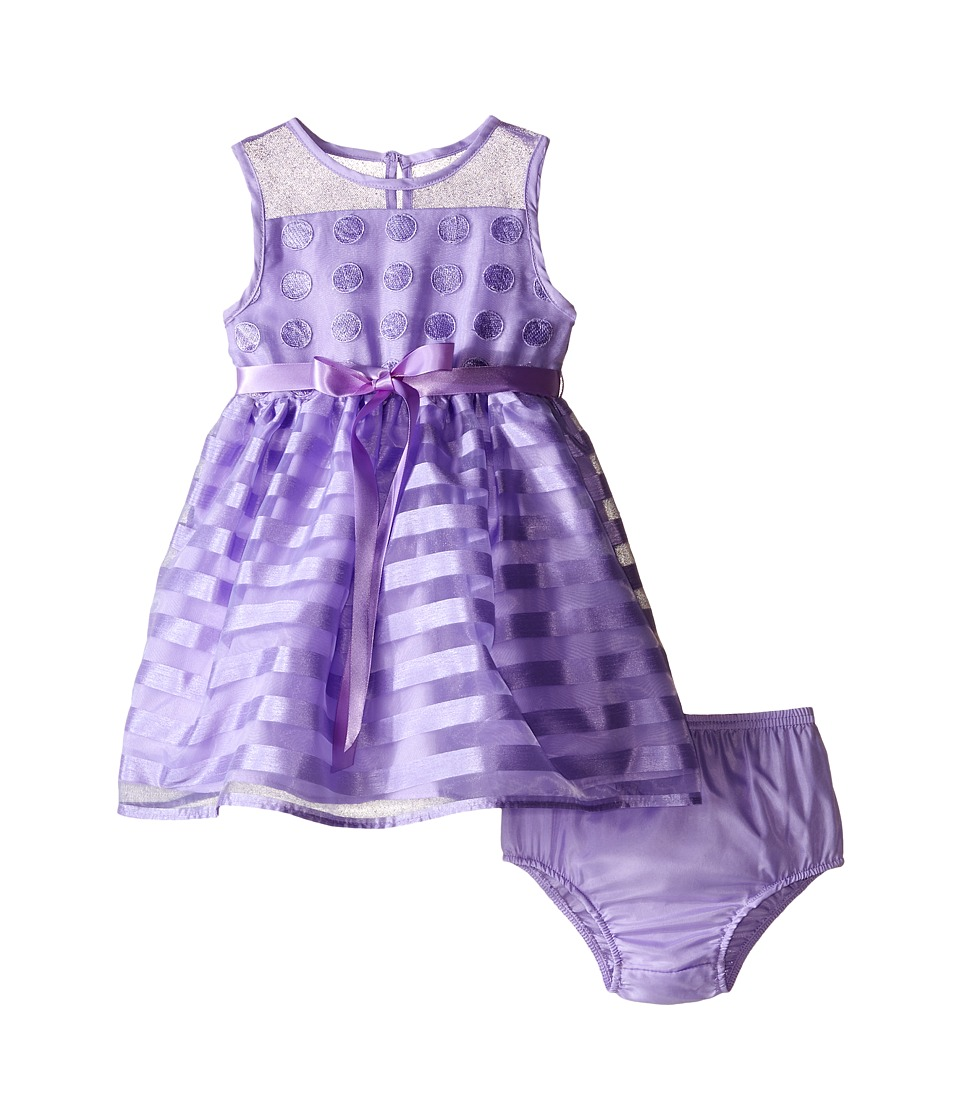 Us Angels - Striped Organza Dot Mesh Sleeveless Illusion Dress (Infant) (Lavender) Girl's Dress