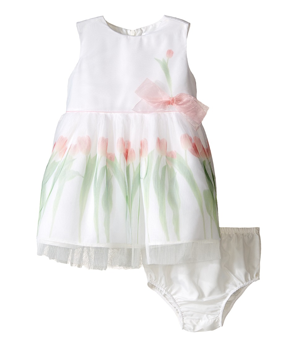 Us Angels - Sleeveless Mesh Popover w/ Tulip Photo Reel Print (Infant) (White) Girl's Dress