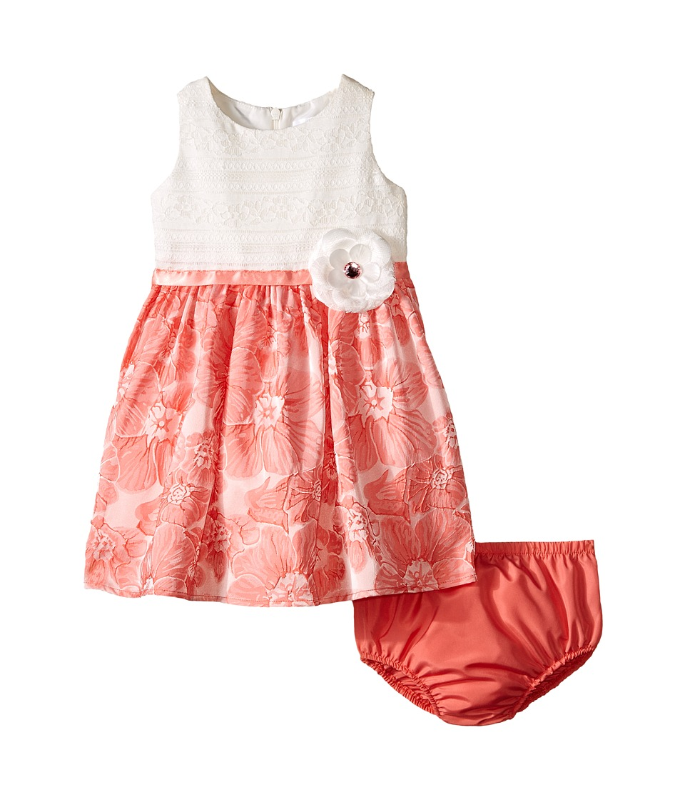 Us Angels - Brocade Lace Sleeveless Dress w/ Satin Ribbon Trim (Infant) (Coral) Girl's Dress