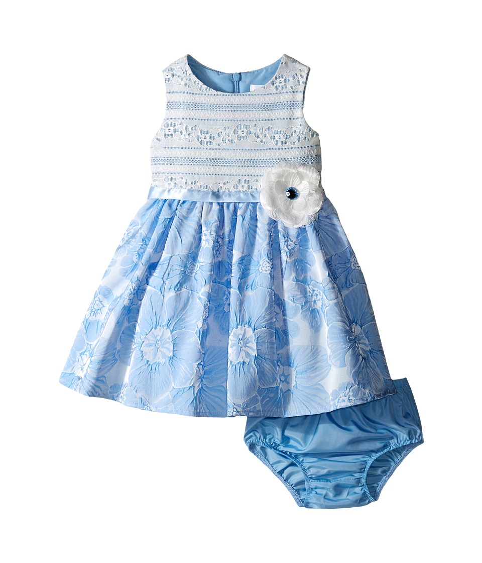Us Angels - Brocade Lace Sleeveless Dress w/ Satin Ribbon Trim (Infant) (Blue) Girl's Dress
