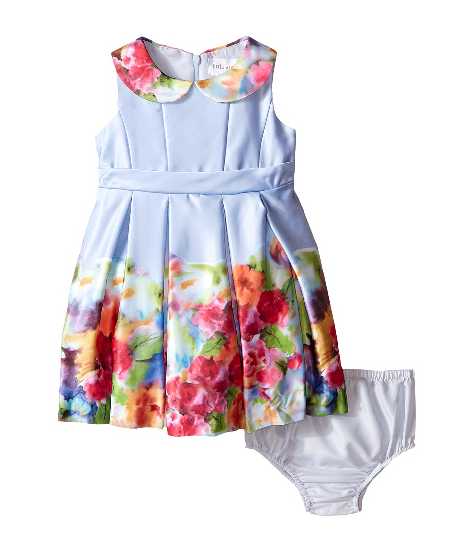 Us Angels - Satin Sleeveless Dress w/ Photo Reel Printed Border (Infant) (Light Blue) Girl's Dress