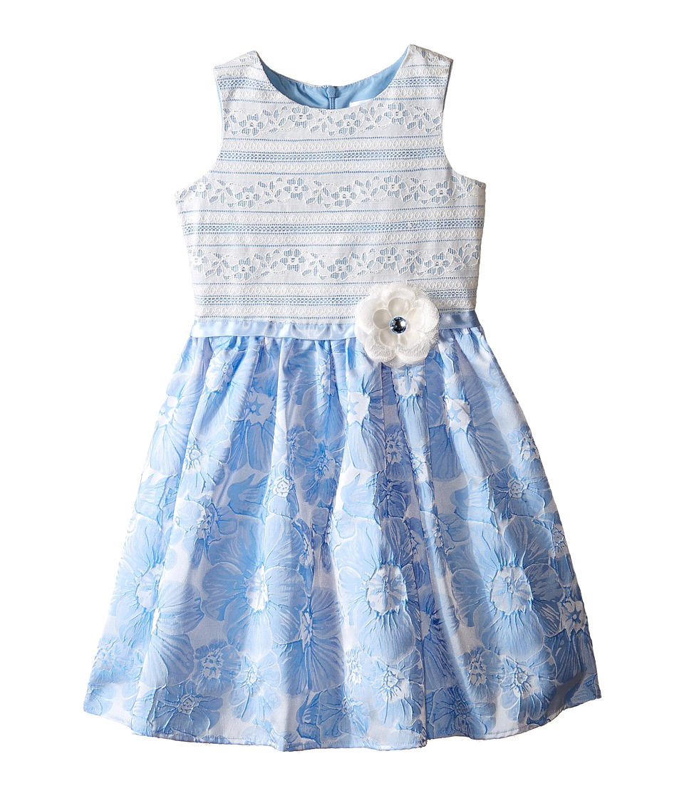 Us Angels - Brocade Lace Sleeveless Dress w/ Satin Ribbon Trim (Toddler/Little Kids) (Blue) Girl's Dress