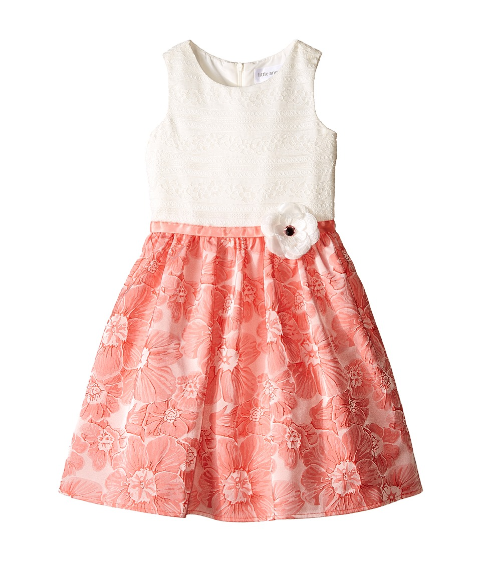 Us Angels - Brocade Lace Sleeveless Dress w/ Satin Ribbon Trim (Toddler/Little Kids) (Coral) Girl's Dress