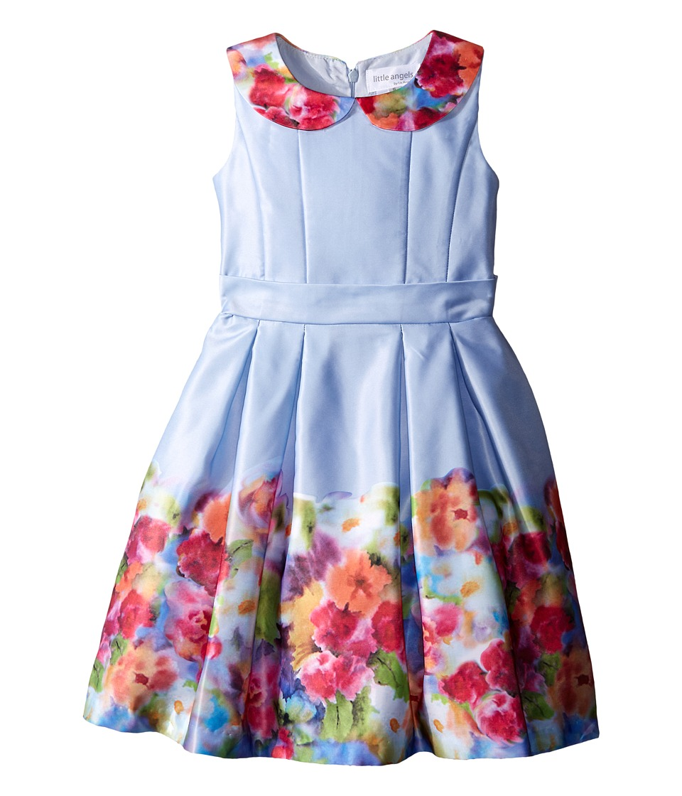Us Angels - Satin Sleeveless Dress w/ Photo Reel Printed Border (Toddler/Little Kids) (Light Blue) Girl's Dress