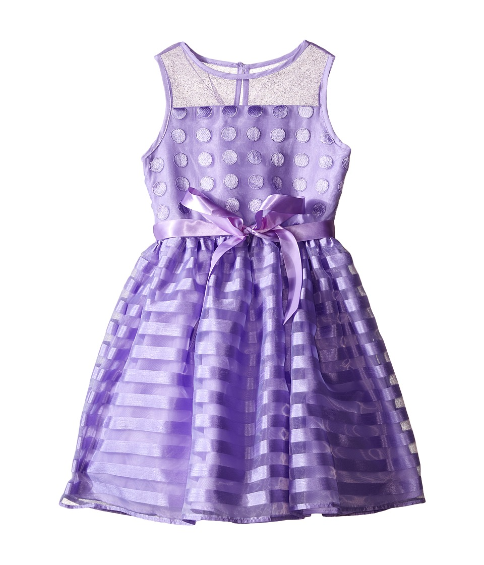 Us Angels - Striped Organza Dot Mesh Sleeveless Illusion Dress (Toddler/Little Kids) (Lavender) Girl's Dress