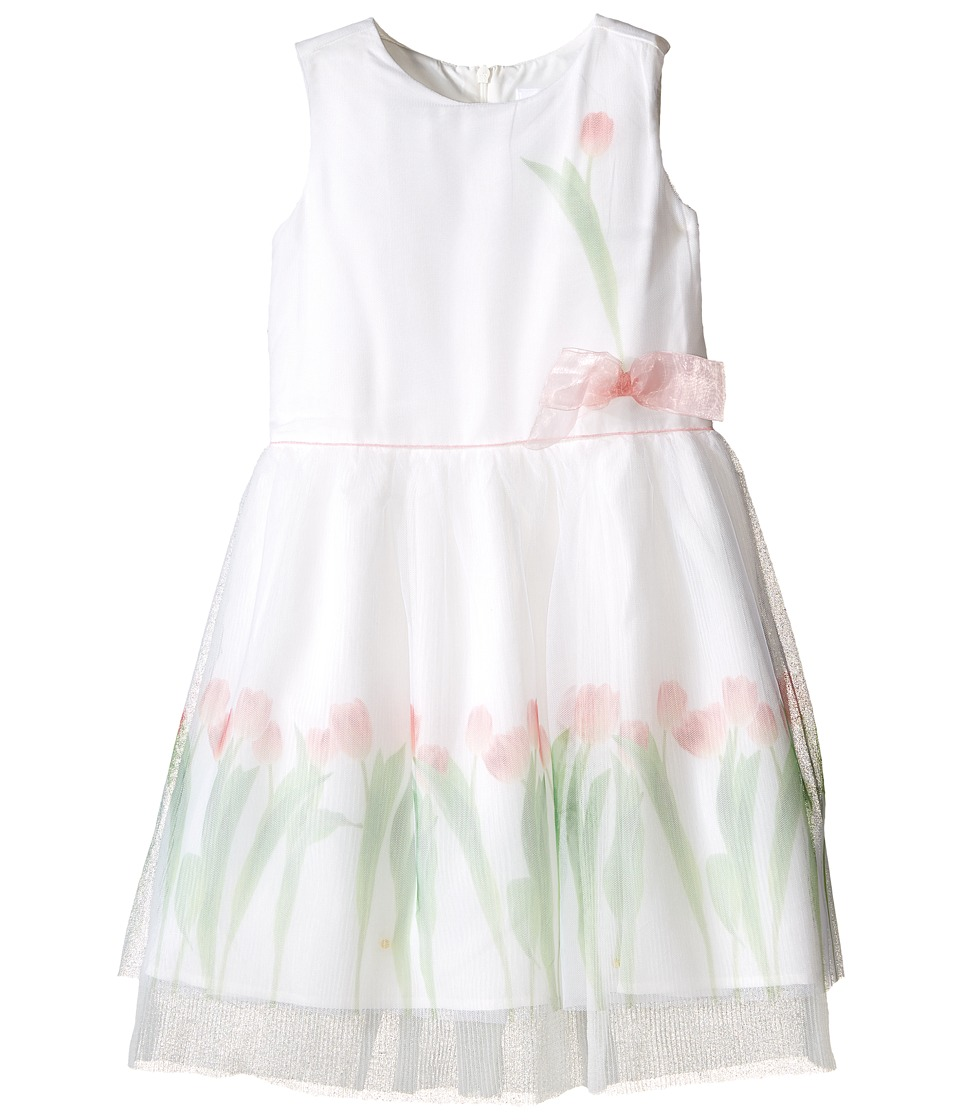 Us Angels - Sleeveless Mesh Popover w/ Tulip Photo Reel Print (Toddler/Little Kids) (White) Girl's Dress