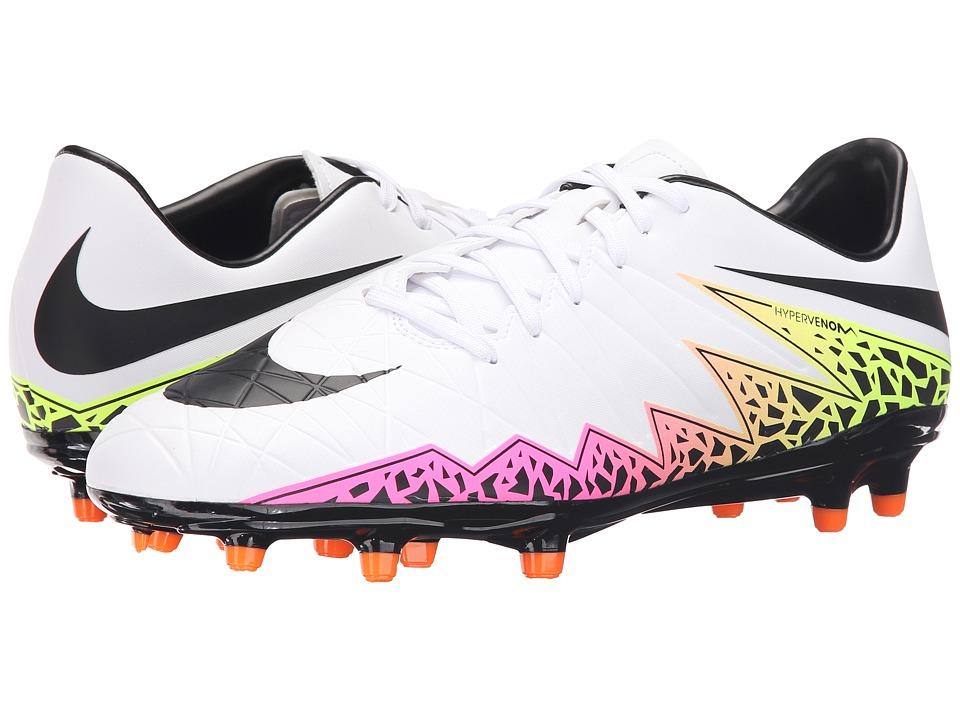 Nike - Hypervenom Phelon II FG (White/Total Orange/Volt/Black) Men's Soccer Shoes