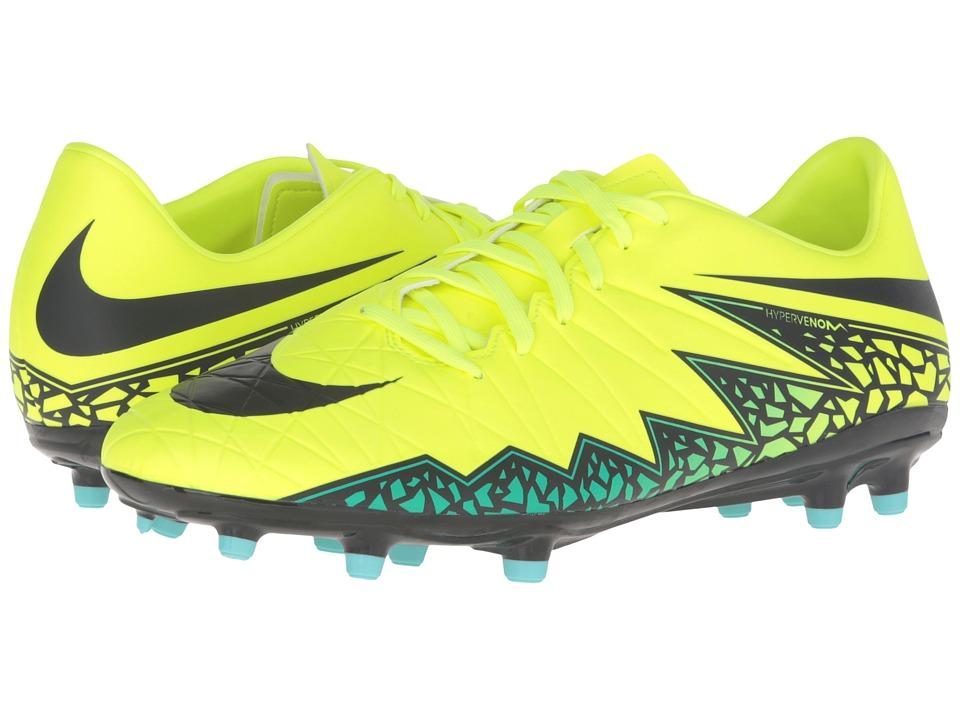 Nike - Hypervenom Phelon II FG (Volt/Hyper Turquoise/Clear Jade/Black) Men's Soccer Shoes