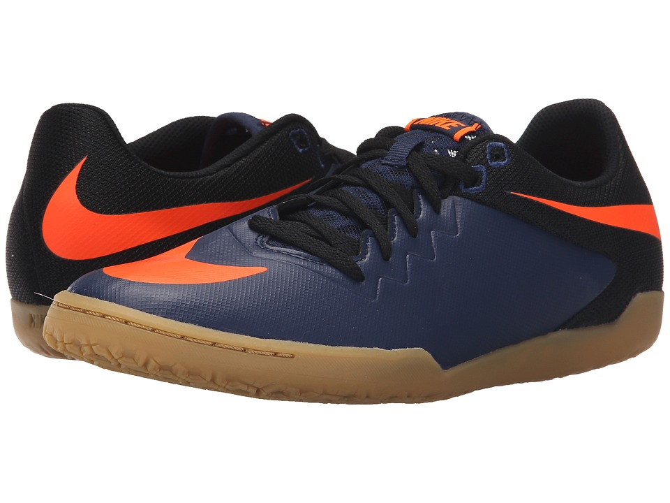 Nike - Hypervenomx Pro IC (Midnight Navy/Black/Gum Light Brown/Total Orange) Men's Soccer Shoes