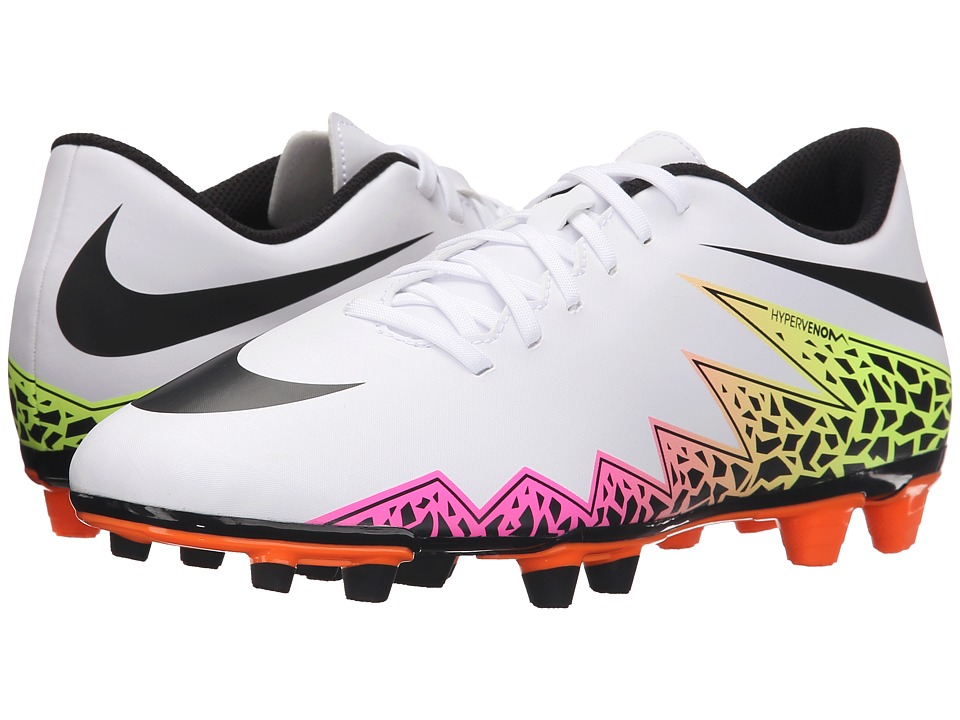 Nike - Hypervenom Phade II FG (White/Total Orange/Volt/Black) Men's Soccer Shoes