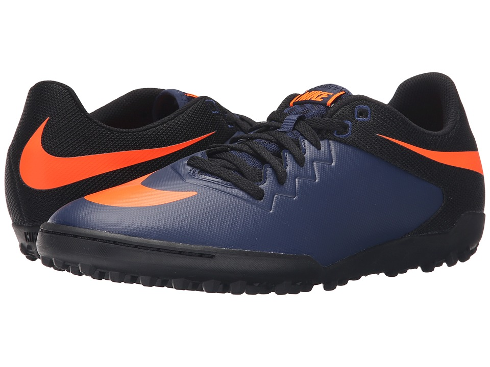 Nike - Hypervenomx Pro TF (Midnight Navy/Black/Gum Light Brown/Total Orange) Men's Soccer Shoes