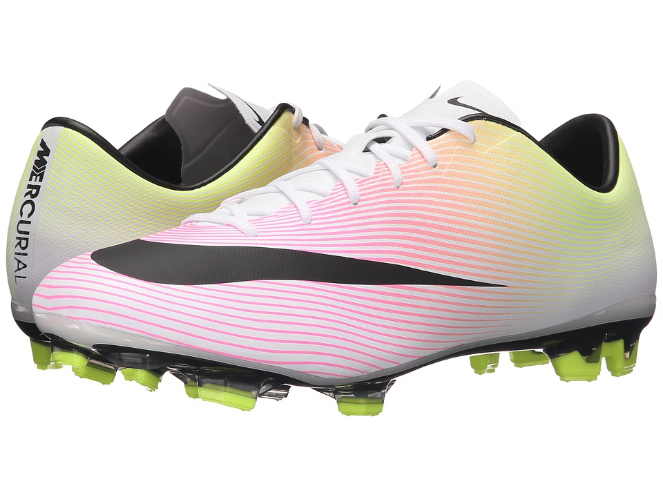 Nike - Mercurial Veloce II FG (White/Volt/Total Orange/Black) Men's Soccer Shoes