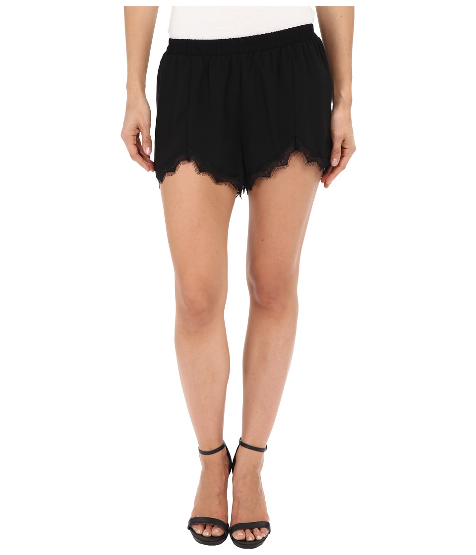 Jack by BB Dakota - Marty Heavy Crepe and Lace Trim Petal Front Shorts (Black) Women's Shorts