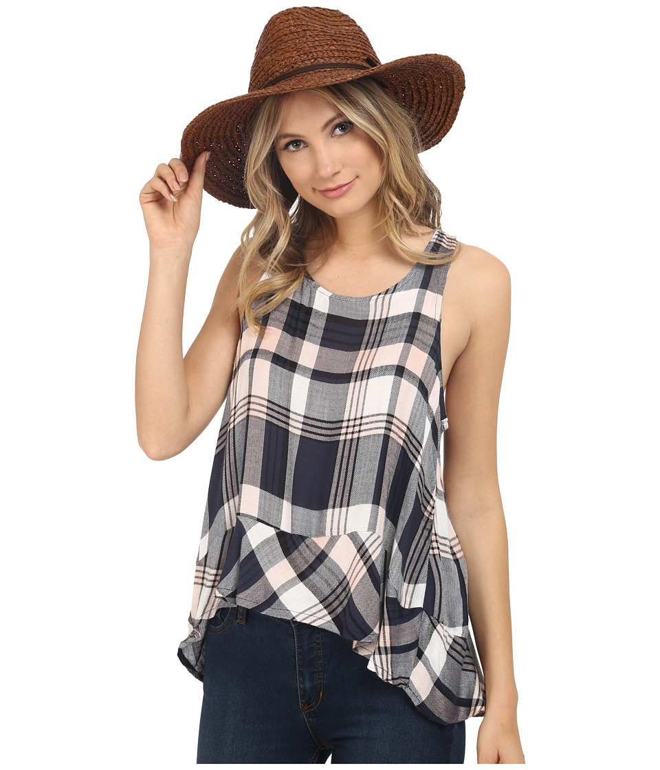 Jack by BB Dakota - Roy Drapey Yarn Dye Plaid Button Back Tank Top (Rose Smoke) Women's Sleeveless