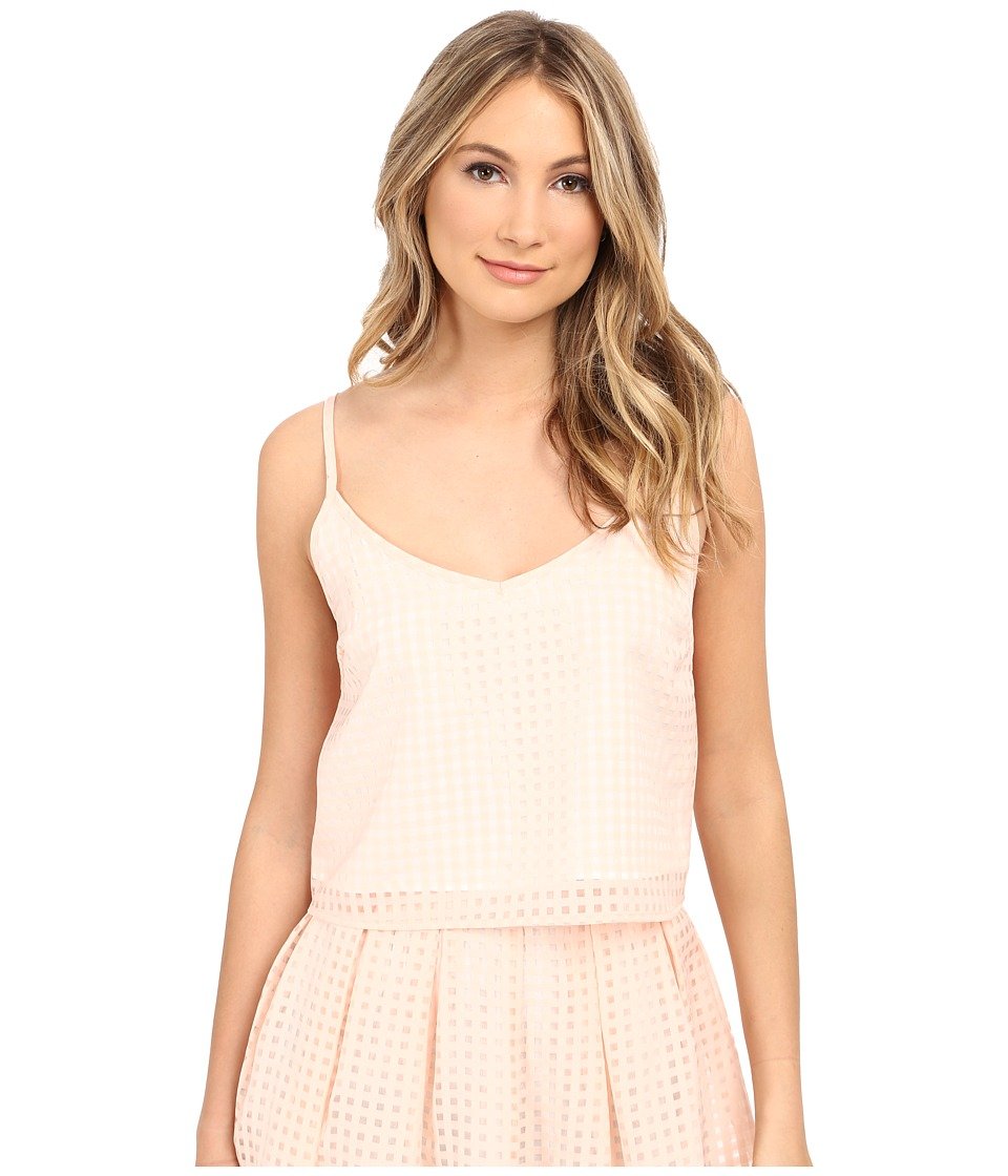Jack by BB Dakota - Kapowski Gingham Organza Braid Strap Top (Light Peach) Women's Clothing