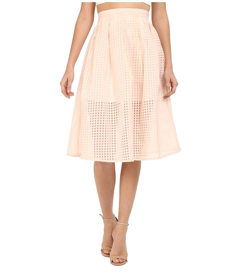 Jack by BB Dakota - Clarice Gingham Organza Pleated Midi Skirt (Light Peach) Women's Skirt