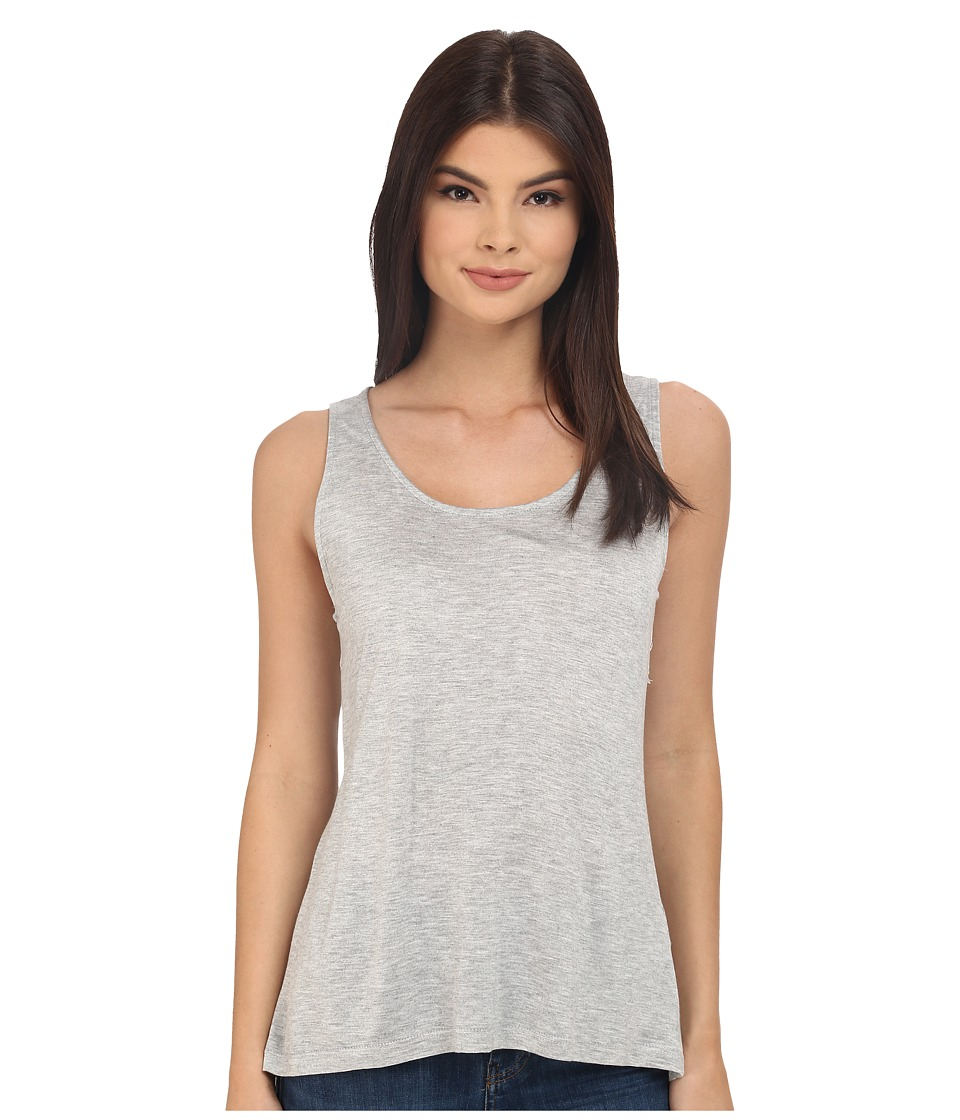 Jack by BB Dakota - Leana Rayon Jersey and Scalloped Lace Tank Top (Light Heathered Grey) Women's Sleeveless