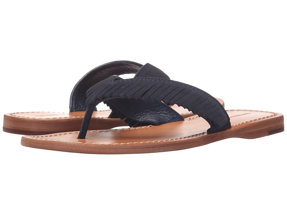 Frye Perry Feathered Thong (Navy Oiled Suede) Women