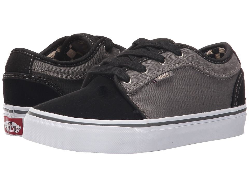 Vans Kids - Chukka Low (Little Kid/Big Kid) ((Herringbone) Black/Pewter) Boys Shoes
