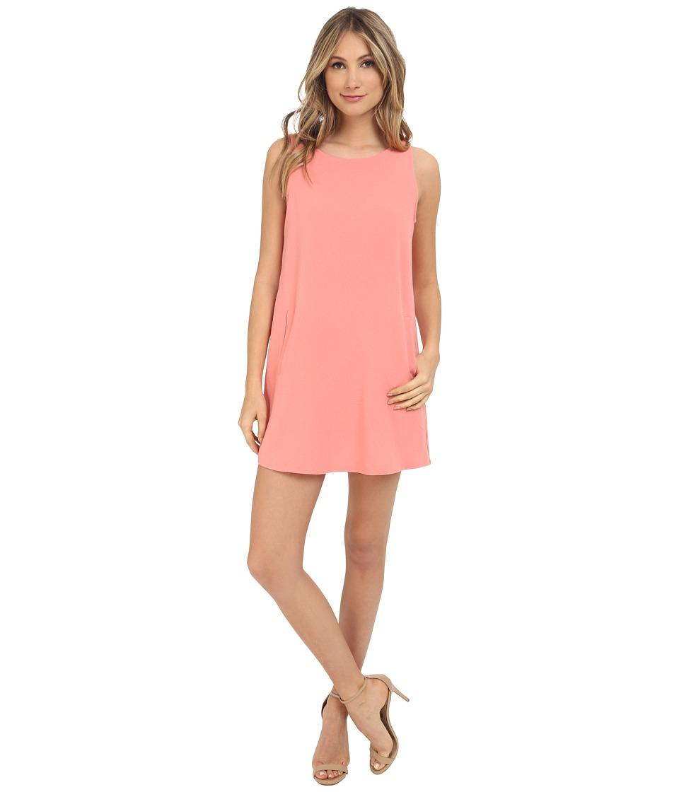 Jack by BB Dakota - Mack Heavy Crepe Crisscross V-Back Shift Dress (Salmon Pink) Women's Dress
