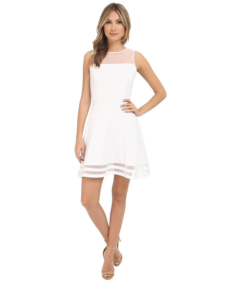 Jack by BB Dakota - Naomi Ponte and Mesh Fit and Flare Dress (White) Women's Dress