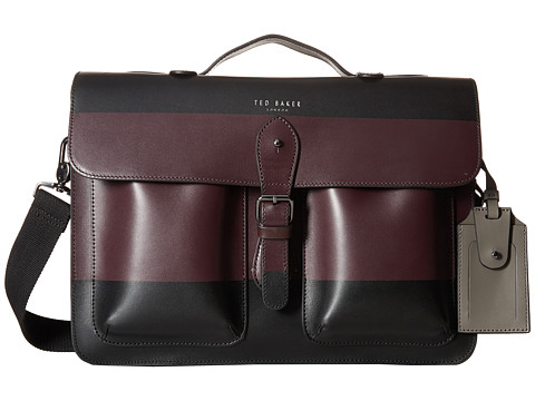 Ted Baker - Leemer Striped Leather Satchel (Black) Satchel Handbags