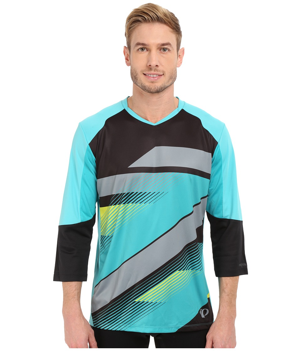 Pearl Izumi - Launch 3/4 Sleeve Jersey (Black/Viridian Green) Men's Clothing