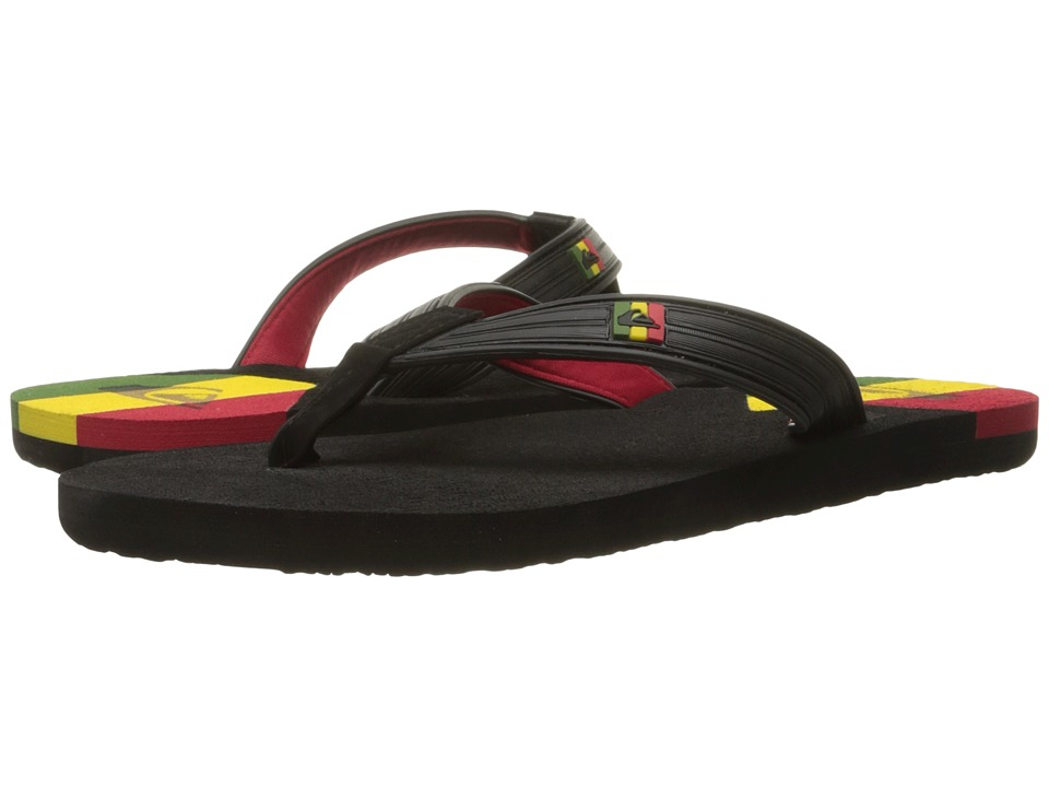 Quiksilver - Molokai New Wave Deluxe (Black/Red/Yellow) Men's Sandals