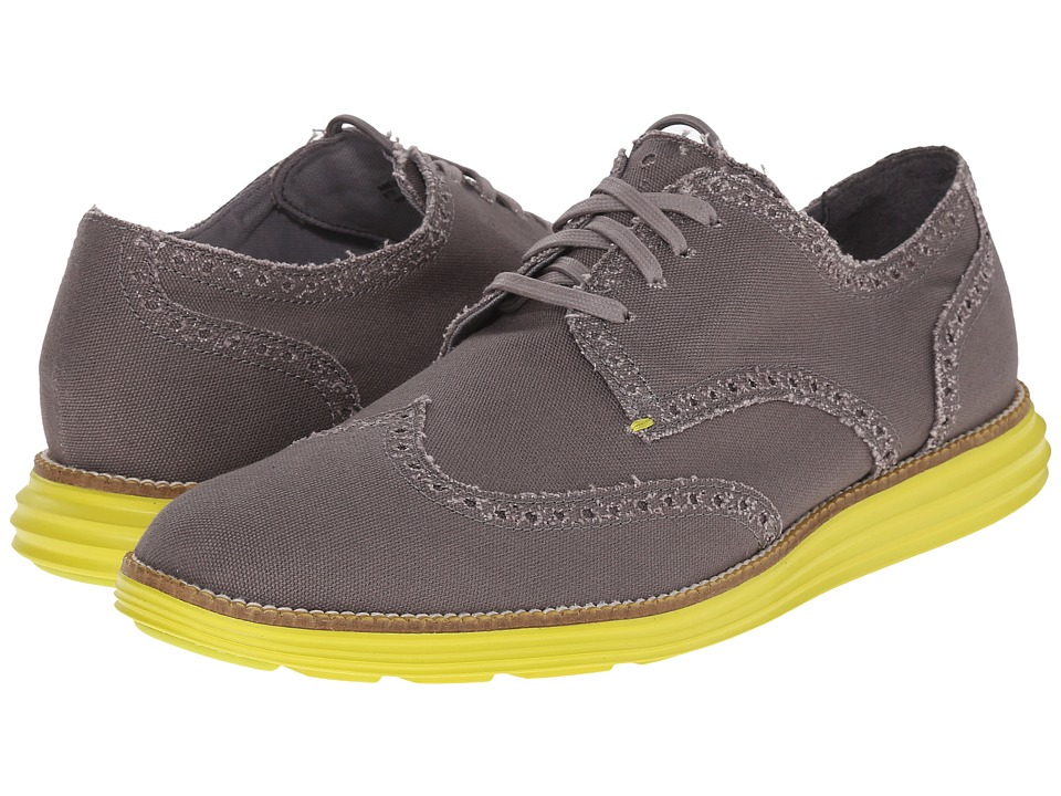 Cole Haan - Original Grand Wingtip (Grey Canvas/Yellow) Men's Lace Up Wing Tip Shoes