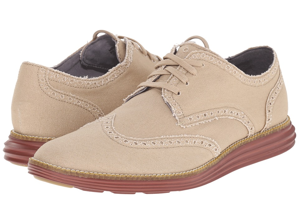 Cole Haan - Original Grand Wingtip (Milkshake Canvas/Brick) Men's Lace Up Wing Tip Shoes