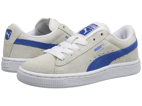 Puma Kids - Suede Jr. (Little Kid/Big Kid) (White/Nautical Blue) Boys Shoes