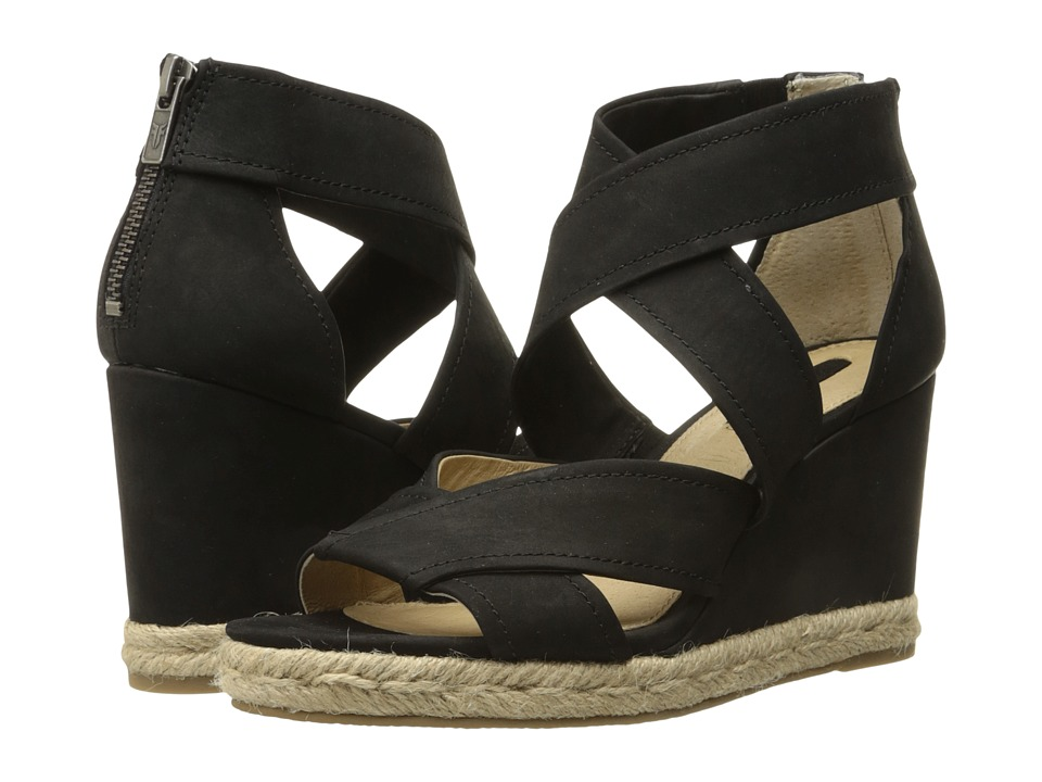 Frye - Roberta Strap Wedge (Black Soft Nubuck) Women's Wedge Shoes