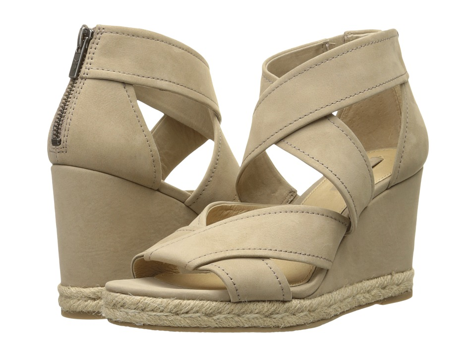 Frye Roberta Strap Wedge (Cement Soft Nubuck) Women