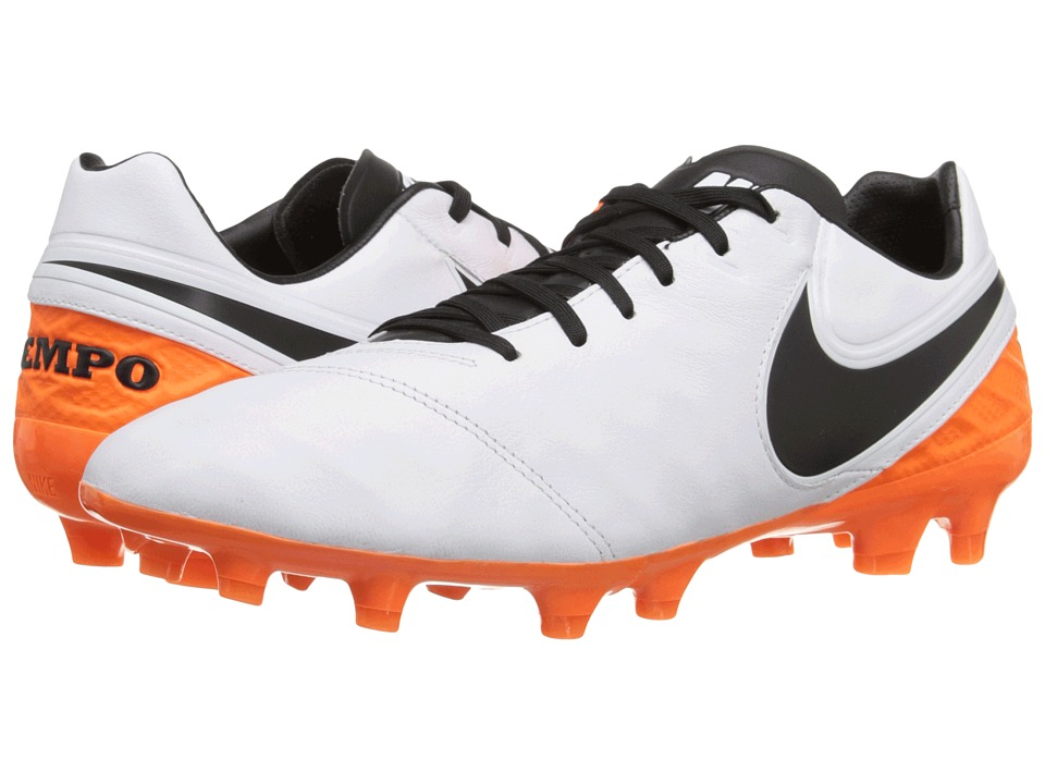 Nike - Tiempo Legacy II FG (White/Total Orange/Black) Men's Soccer Shoes