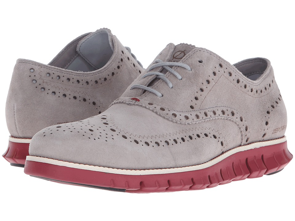 Cole Haan Zerogrand Wing Ox Silver Mist-Tibetian Red Mens Lace Up Wing Tip Shoes