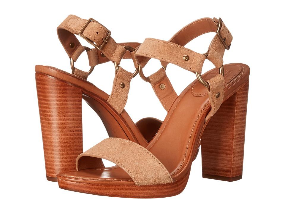 Frye Sara Harness Sandal (Sand Oiled Suede) High Heels